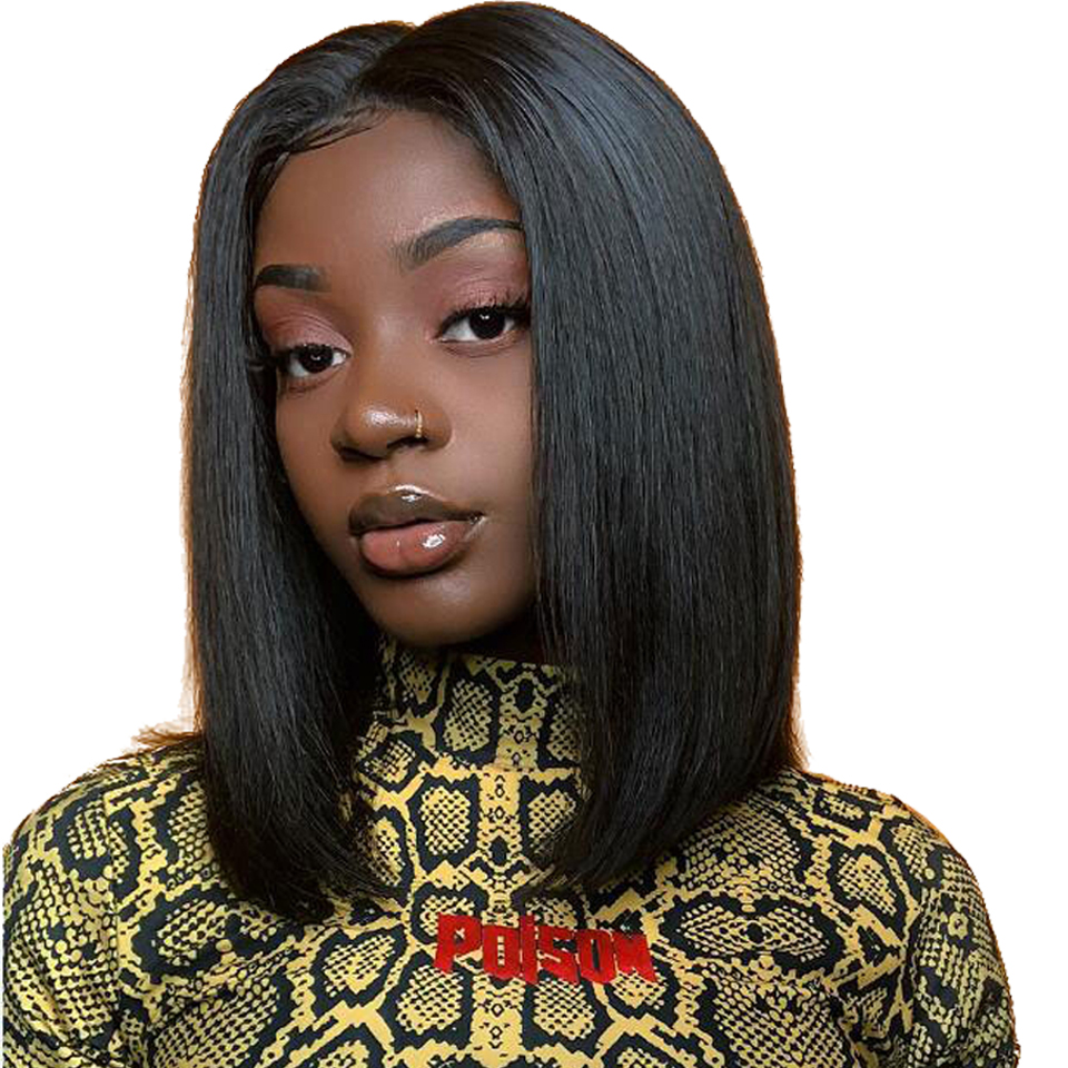 Short Bob Wig Lace Front Wig For Black Women Brzailian Human Hair Wigs Pre Plucked Hairline Bleached Knots Remy Hair