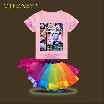 Girls Vampirina Shirts & Rainbow Tutu Skirt Clothing Set Fluffy Tulle Skirt Socks Tights Child Ballet Minnie Skirt Big Sister conjuntos casuales para niñas