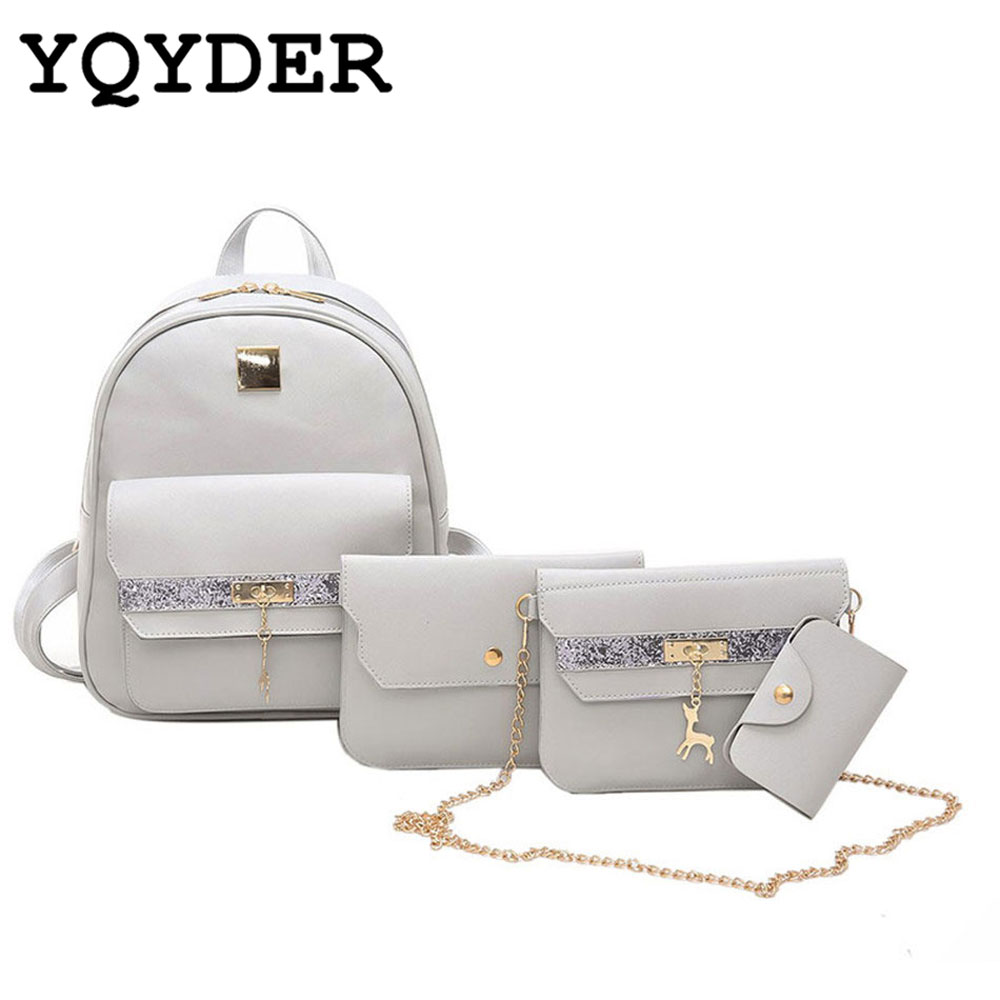 Women Bags 2017 Famous Brand Chain Top-Handle Bag Fashion Pendant Women Messenger Bags Set PU Leather Composite Bag 4 piece Set 2017 fashion all match retro split leather women bag top grade small shoulder bags multilayer mini chain women messenger bags