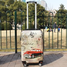 20 24 Inches Upright Hardside ABS PC Travel Cabin Case 1 Piece Durable Spinner 4 Wheels Vintage Luggage Suitcase Fochier XQ013