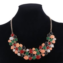 Fashion Jewelry Vintage Bohemia Women Necklaces & Pendants Link Chain Necklace Flower Gem Statement Chock Necklace For Women