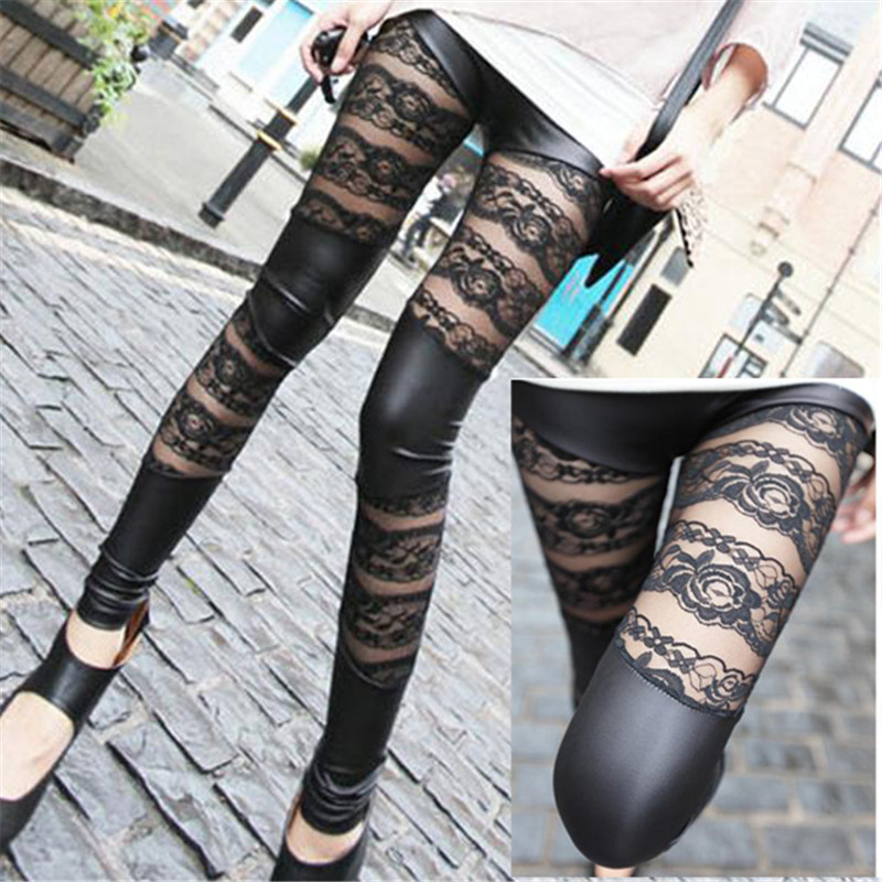 New Fashion Lace Patchwork Artificial Leather Close-fitting Pants   Leggings   Black for Women Girls pantalon femme