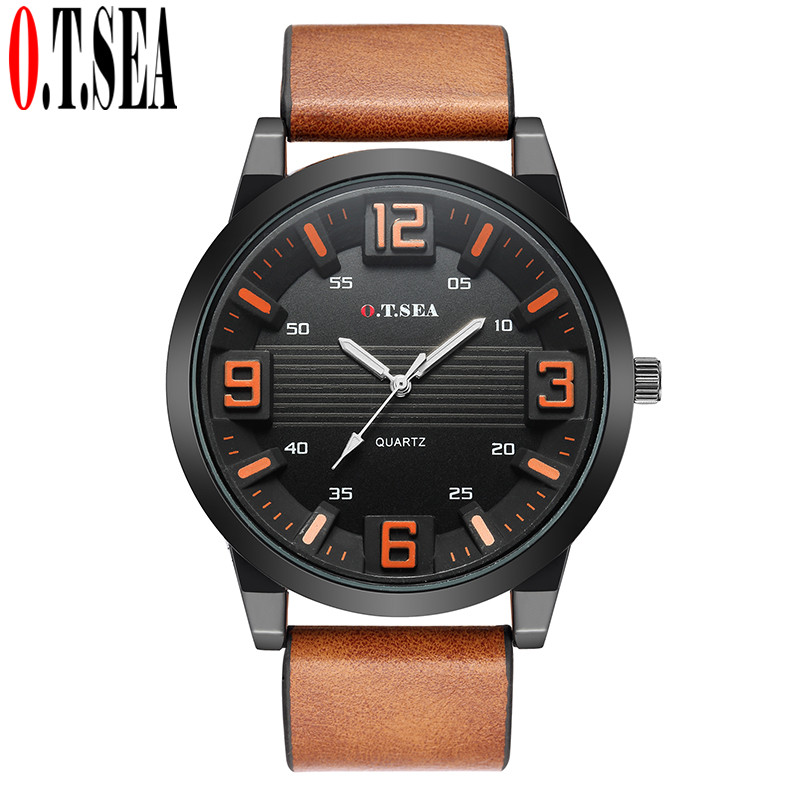 Luxury Brand O.T.SEA Men Leather Watch Analog Military Quartz Wristwatch Male Clock Relogio Masculino 1147 l occitane пион совершенный крем пион совершенный крем