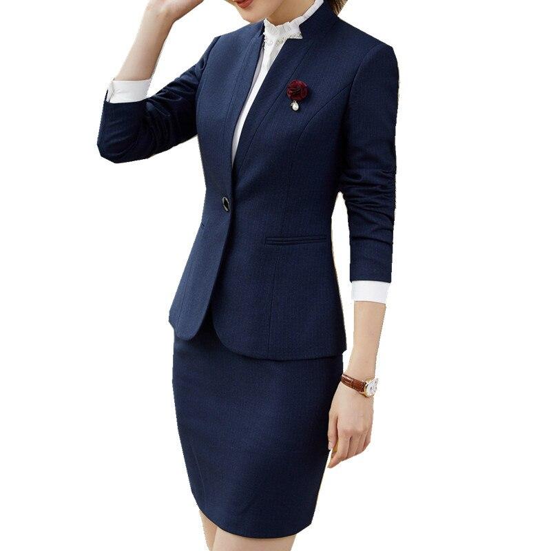 Blue Veste Costumes 2 Jupe Travail Manches Costume Dames Blazer Suit Skirt grey Bande Fmasuth Uniforme Ow0411 Suit Pour Pièces Pleine D'hiver Bureau AqzwTzf