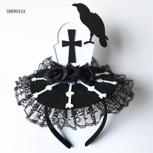 Halloween Headband Ghost Festival Tombstone Atmosphere Headwear Fancy Dress Party Horror Decoration Prop Lace Hair Accessories