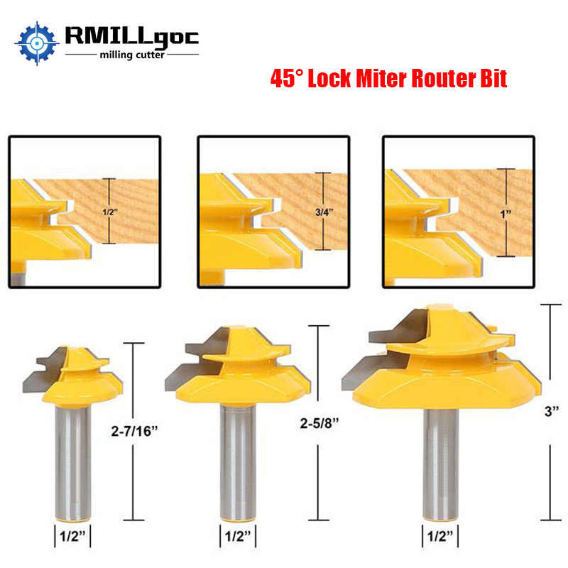 1/2 Inch Shank 45 Degree Lock Miter Router Bit 1/4 Inch Shank Joint Router Bit Woodworking Cutter Tool