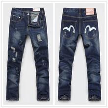 Мужские состаренные прямой Fit рваные разрез деним джинсы для мужчины Pantalones вакерос хомбре марка 301