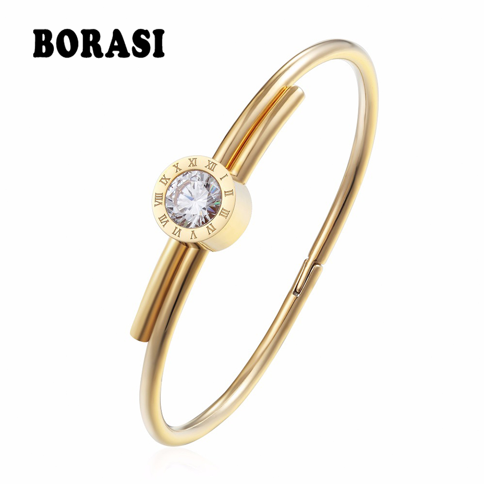 BORASI Stainless Steel Letter Bracelets & Bangles For Women Charms Bracelets Gold Color Crystal Jewelry For Valentines Gift fashion jewelry copper color 2 style bracelets mens stainless steel hologram magnet bracelets bangles for man trendy gift
