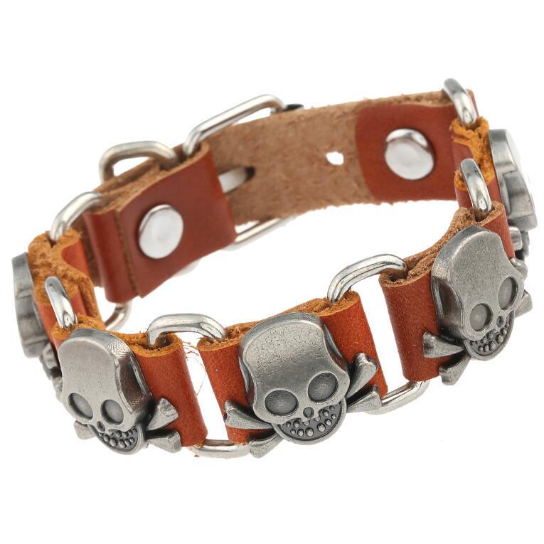 Vintage Punk Alloy Skull Bone Charm Bracelet Handmade Genuine Leather Link Chain Skeleton Bangle Wrap Wristbands Fashion Jewelry