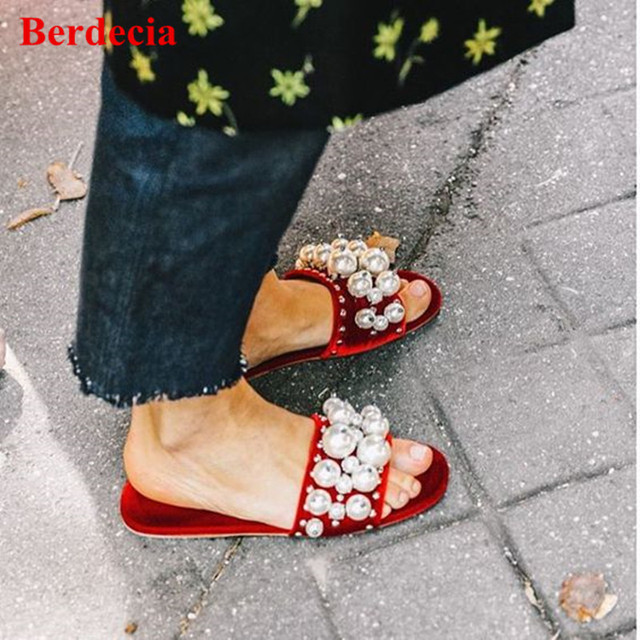 cda265625037 Street Style Red Black Open Toe Velet Pearl Slide Sandals Women Studded  Fashion Shoes Beading Flat Mules Shoes Women Slippers