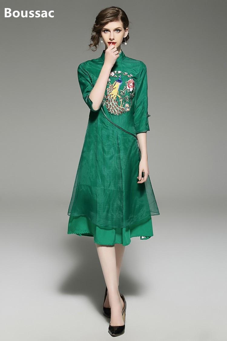Livraison gratuite été original style chinois fleur et Phoenix brodé grande taille desserrer robe pour les femmes
