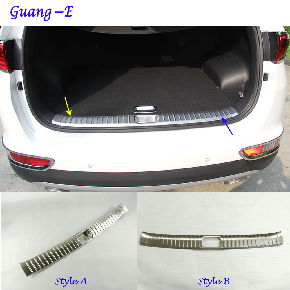 Car Stainless Steel Inner built Rear Bumper trim plate lamp frame threshold pedal 1pcs for Kia Sportage KX5 2016 2017 2018 interior black rear trunk cargo cover shield 1 pcs for kia sportage 2016 2017