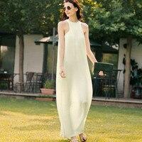 Original Design Women Summer Vintage Retro Elegant Brief Slim Sleeveless O Neck Light Yellow Silk Brocade