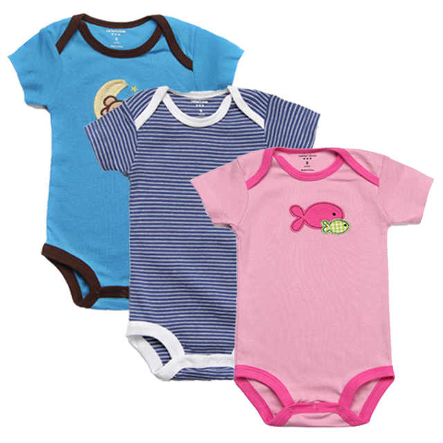 2f4cfe46d 3Pcs Baby Rompers Summer Baby Girl Clothes Unisex Newborn Baby ...