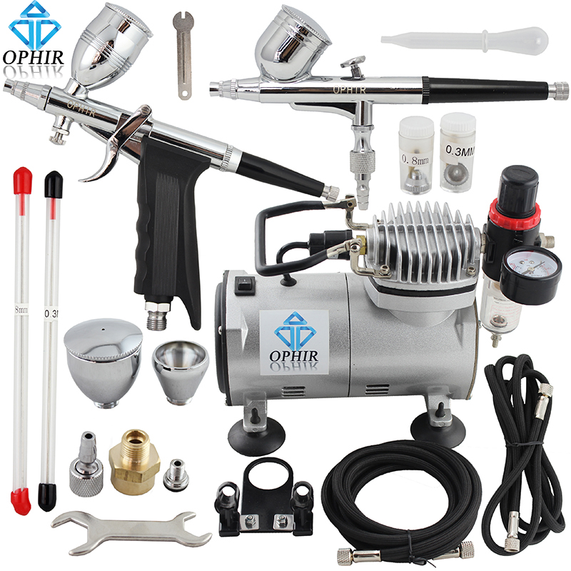 OPHIR 2 Dual-Action Airbrush Kit with PRO Air Compressor for Model Paint 110V 220V Cake Airbrush Compressor Set_AC089+004+069 ophir 0 4mm single action airbrush kit with 5 adjustable mini air compressor cake airbrush gun for makeup body paint ac094 ac007