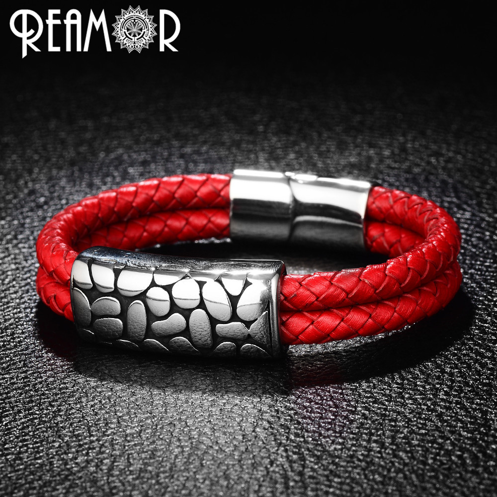 REAMOR 316L Stainless Steel Bead Male Bracelets Red Double Braided Leather Charms Homme Bracelet & Bangles Men Women Jewelry