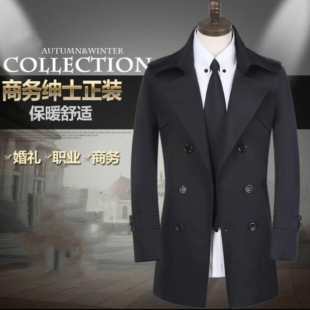 Black spring autumn short double breasted   trench   coat men overcoat long sleeve mens clothing business outerwear casaco masculino