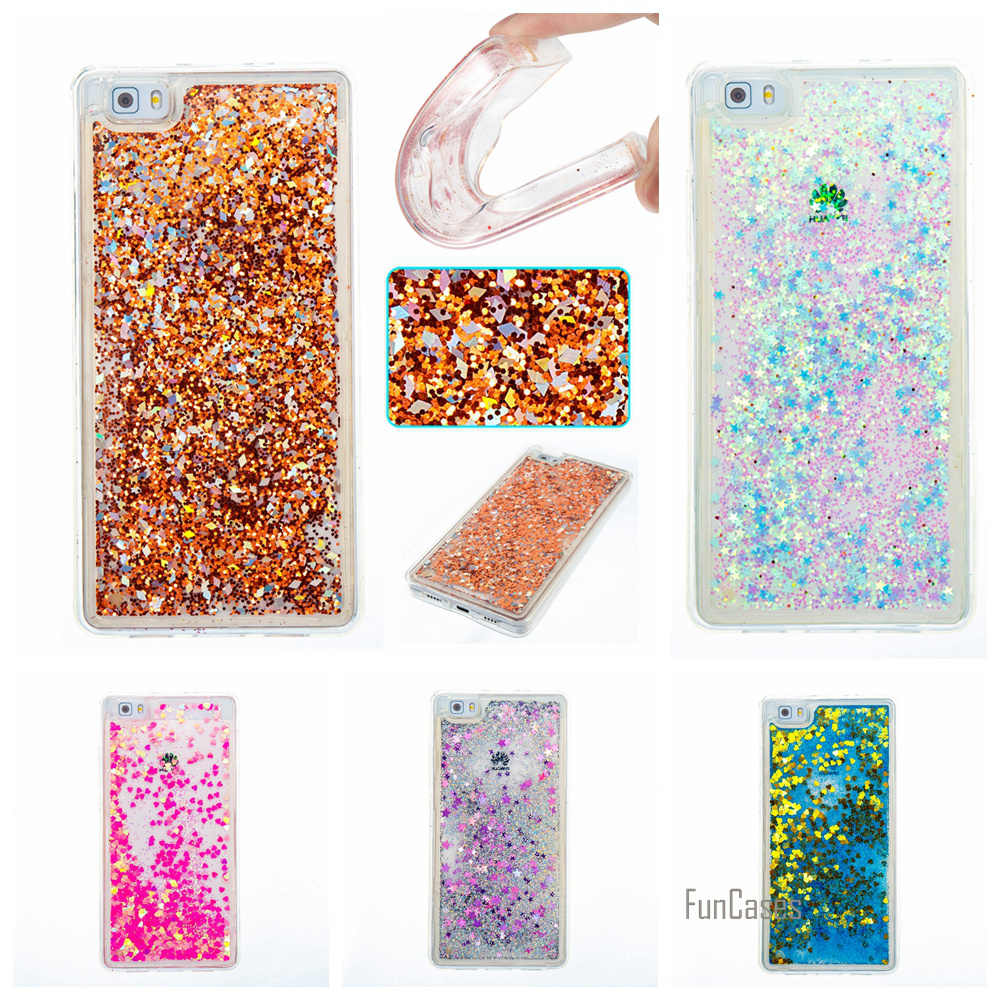 Funda Soft TPU Qquicksand Phone Case For Huawei P9 Lite Pink Glitter Bling Colorful Dynamic For Huawei Ascend P8 Lite accesorios