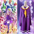Hot Anime Shiro No Game No Life Cosplay Costume Purple Hero Sailor Uniform Winter School Suits Christmas Dress In Stock QM004