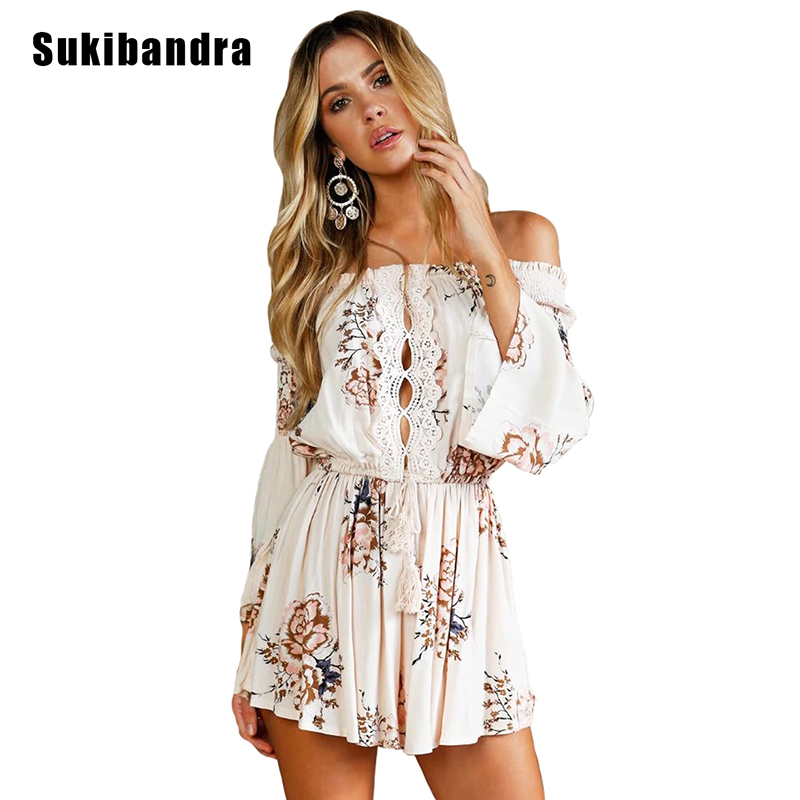dcfc7bd0dcdc Sukibandra Summer Floral Print Long Sleeve Casual Beige Playsuit Off  Shoulder Rompers Womens Short Jumpsuit Overalls for Women