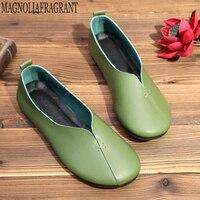 Для женщин обувь Новое поступление весна плиссированные обувь на плоской подошве из натуральной кожи женская обувь удобные бабушкины туфл...