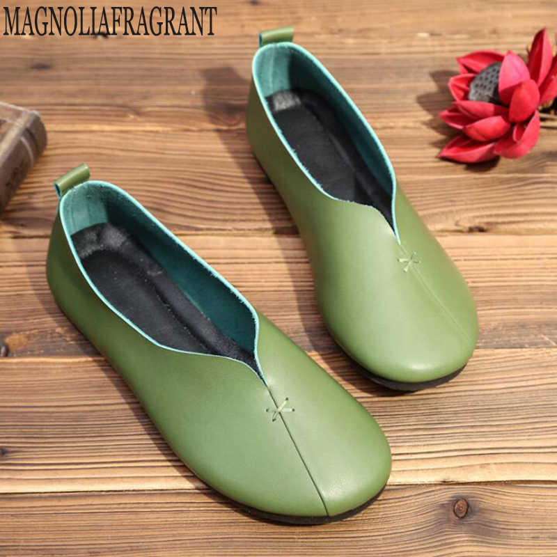 Kadın ayakkabı yeni varış bahar pilili hakiki deri flats ayakkabı kadın rahat büyükanne ayakkabı kadın loafer'lar tenis feminino