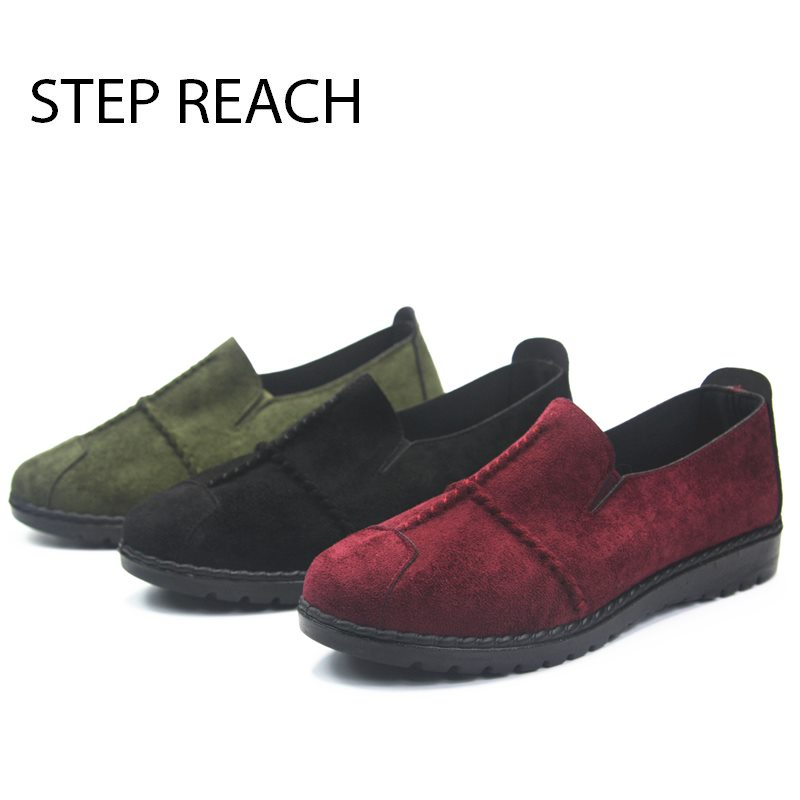 STEPREACH Brand shoes woman Flats women zapatos mujer chaussures femme sapato feminino ladies loafers sewing solid slip-on rubbe