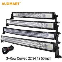 Auxmart 22″ 324W 32″ 486W 42″ 594W 50″ 702W Tri-Row Curved LED Light Bar Offroad Work Light Combo Beam 4X4 4WD LED Bar