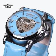 Fashion Brand Winner Leather Band Women Men Skeleton Automatic Mechanical Watch Women Dress Mechanical Wrist Watch