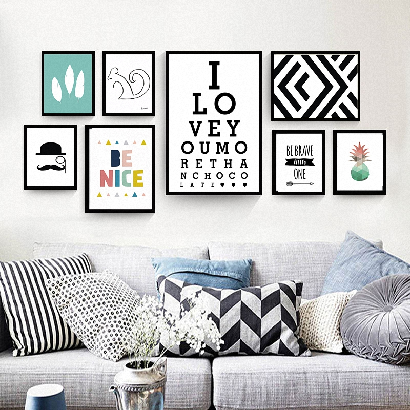 Buy modern nordic decoration canvas for Living room 6 letters