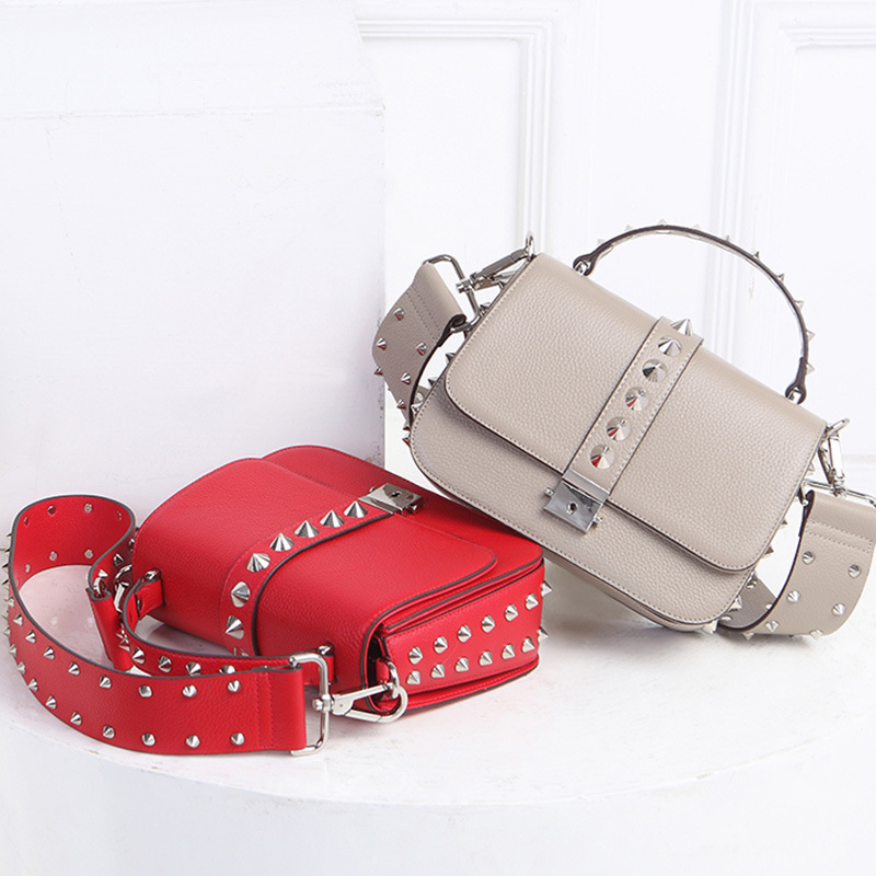 9042 Europe and America Rivet Bag Ladies Handbag Cowhide Leather Crossbody Bag Wide Straps Shoulder Bag