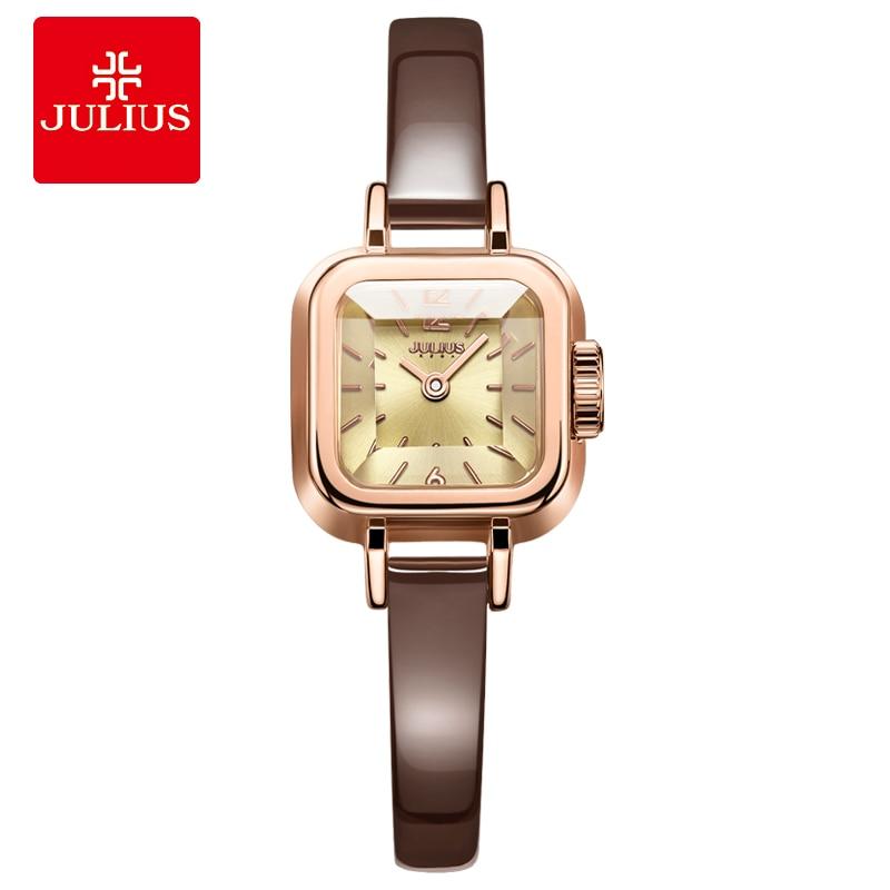 Julius Decoration Watch Ladies Watch In Yellow Gold Women Bracelet Dress Watch Japan Movt Diamond Quartz