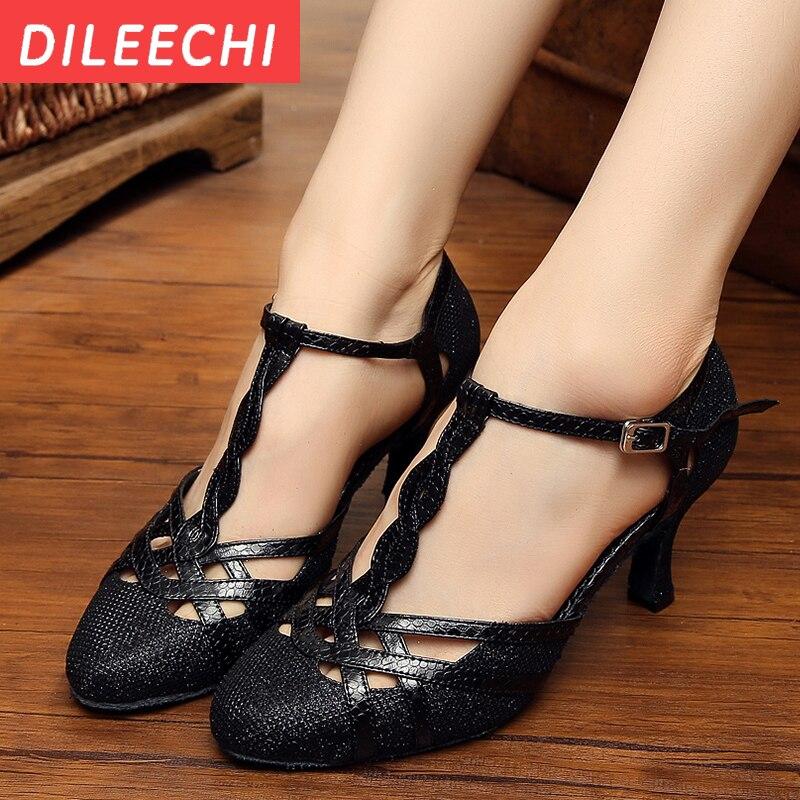Adult Ballroom Latin Dance Shoes Women Sandals Black Genuine Leather Square Heel