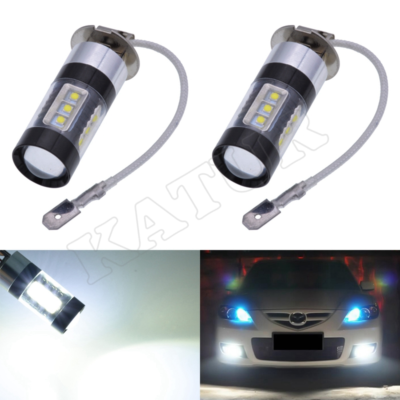 2x 80W High Power H3 LED Car Fog Light LED Super Bright White Fog Turn DRL Car Light Daytime Running Lamp Bulb 12V Front Lights 1pcs high power h3 led 80w led super bright white fog tail turn drl auto car light daytime running driving lamp bulb 12v