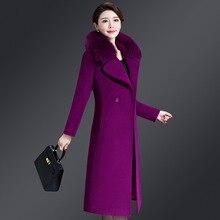 casaco feminino 2019 UK Women Plus size Autumn Winter Cassic Simple Wool Maxi Long Coat Female Robe Outerwear manteau femme plus size beaded maxi long coat
