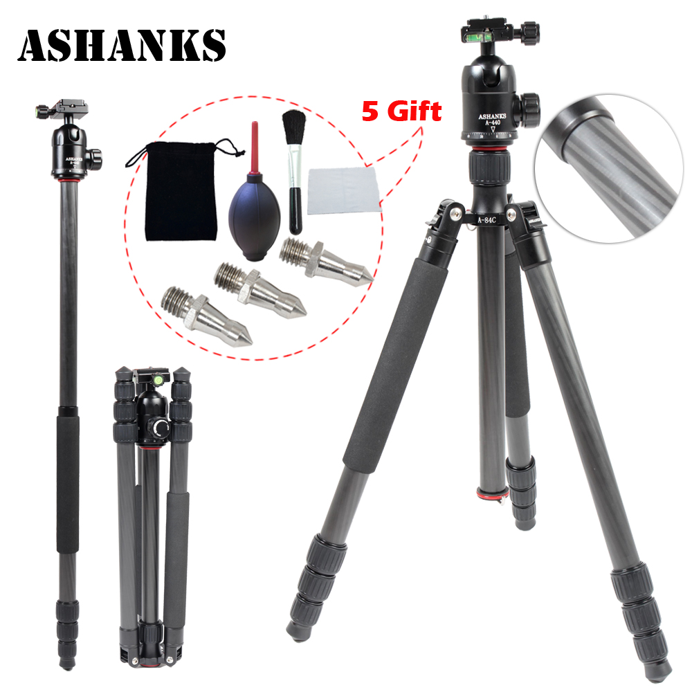ASHANKS A84C Loading 15KG Portable Carbon Fiber Tripod Pro Monopod 44cm Ball Head and Quick Release
