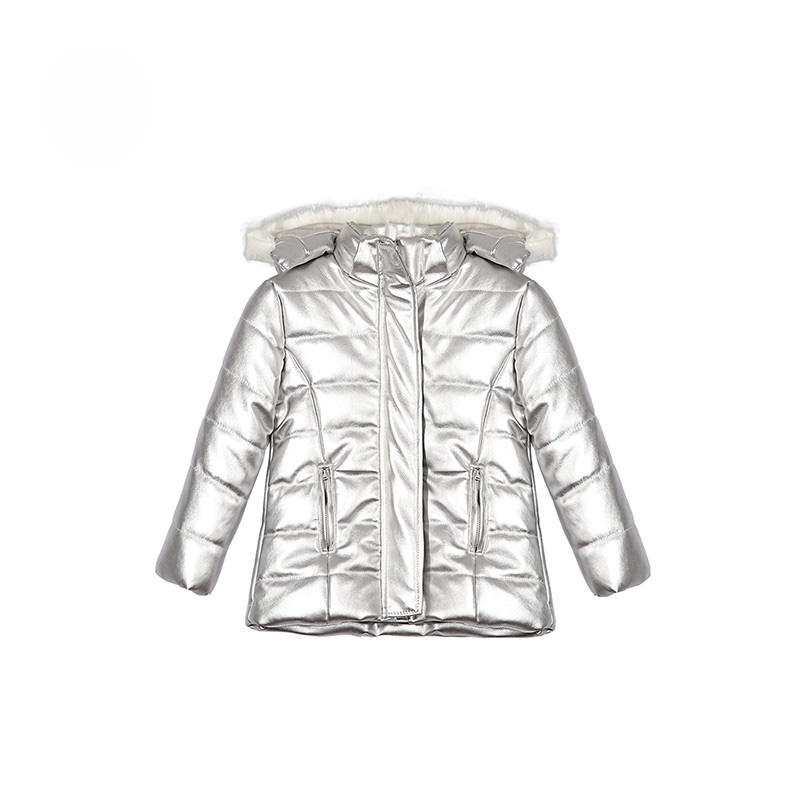 Top Quality Girls Jacket Leather Winter Girls Coats and Jackets Full Sleeve Girls Outerwear Warm Kids sliver Jacket Girls girls cut and sew top