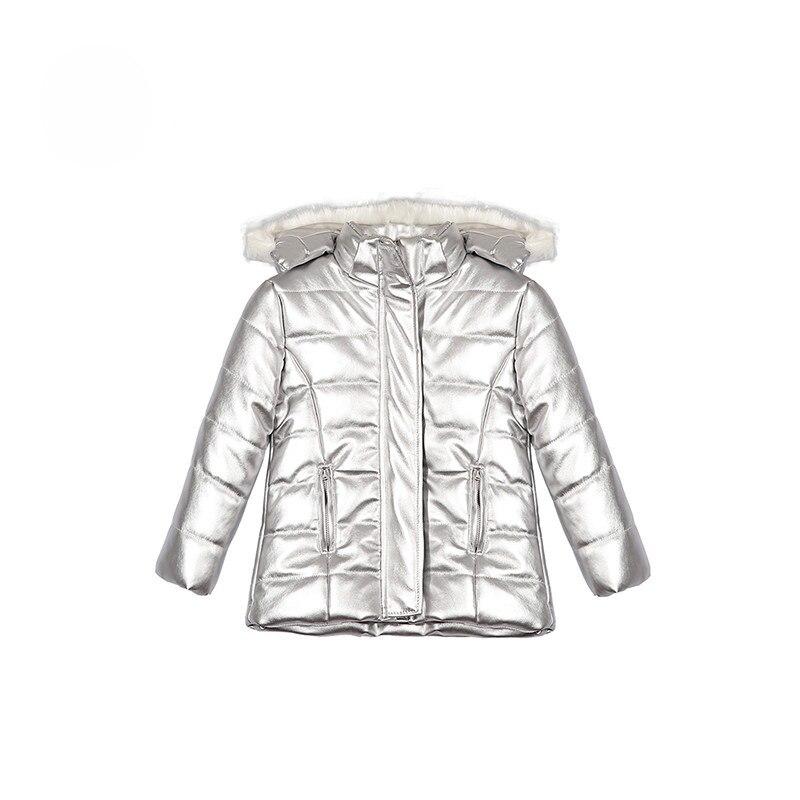 Top qualité filles veste en cuir hiver filles manteaux et vestes à manches longues vêtement d'extérieur pour filles chaud enfants argent veste filles