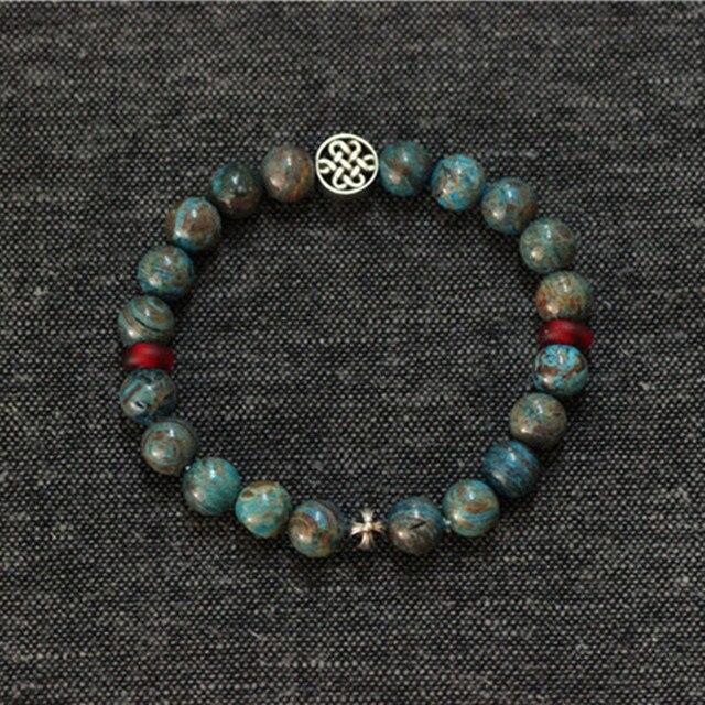 925 Sterling Silver Mens Bracelets 2016 Casual Men's Bracelets, Handmade Natural Stone Stretch Bracelet, Man Bracelets Jewellery