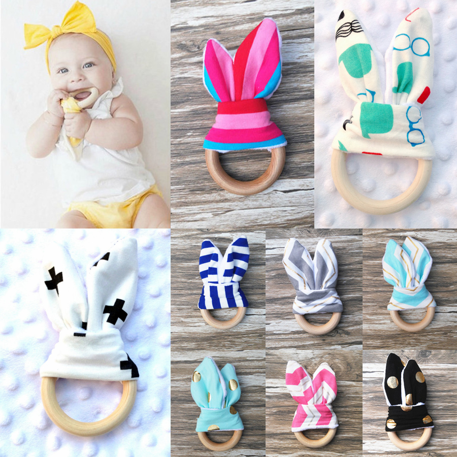 Hot Sale Baby Teether Teething Ring Natural Wood Circle With Fabric Wooden Teethers Training Sensory Newborns Toys