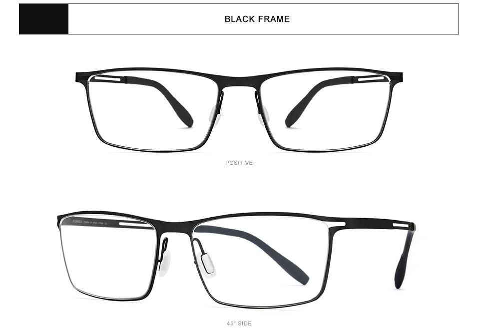 Fonex b titânio óculos quadro homem semi