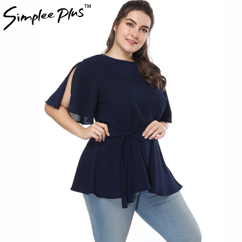 Simplee Plus Plus Size 5xl Summer women blouse with belt Casual shirt sash V Neck Short Sleeve Blouse Peplum Big Size Top