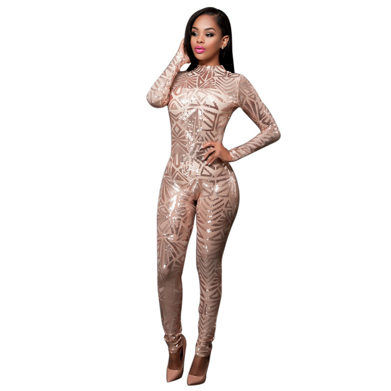 High end Custom Black White Golden Sequin Jumpsuit 2016 Fall Womens Long sleeve High Stretch Party
