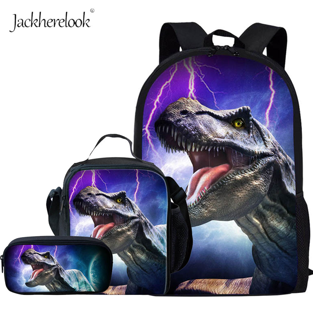 Dinosaur Pattern School Backpack For Boys Girls Cool Tyrannosaurus Rex School Bags Kids Schoolbag T Rex Dino Book Bag Child 3Pcs