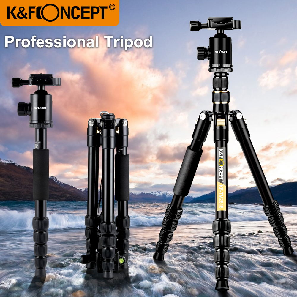 K&F Concept Ultra Compact And Lightweight Aluminum Travel Camera Tripod With Monpod,360 Panorama Ball Head For Canon Nikon Sony