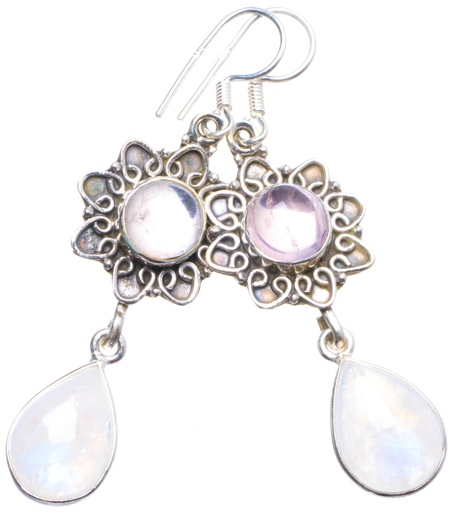 Natural Rainbow Moonstone and Rose Quartz Handmade Unique 925 Sterling Silver Earrings 2.25