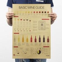Di base di Guida del Vino Degustazione Guida Bere Vino di Carta Kraft Vintage Poster Da Parete Adesivi Complementi Arredo Casa Retro Poster Sala da pranzo Decalcomanie