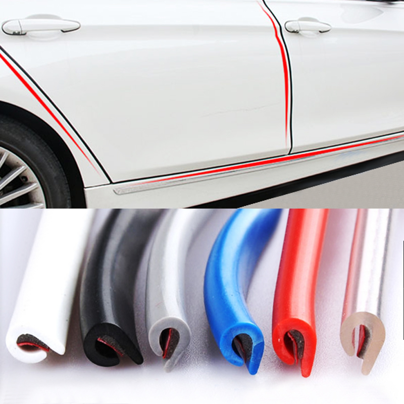 5M/10M Car Door trips Rubber Edge Protective Strips Side Doors Moldings Adhesive Scratch Protector Vehicle For Cars Auto(China)