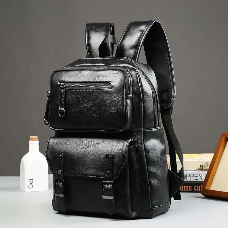 ФОТО Cool !!! Black Large capacity Travel Laptop Backpack mochila Men's Leather Backpack Schoolbag Vintage Solid Leather Backpack men