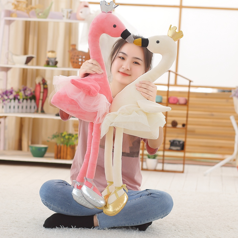 купить 1pc 50/80cm Kawaii Swan Plush Toy Soft Stuffed Cute Animal Flamingo with Shoes Lovely Dolls for Kids Baby Children's Day Gifts по цене 549.42 рублей